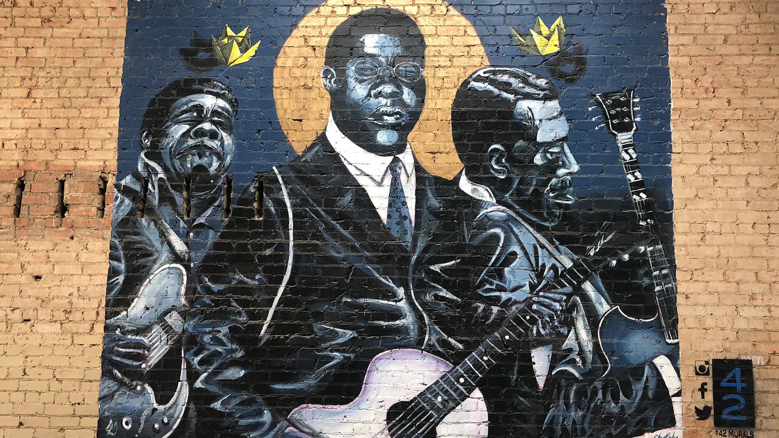Mural painting of jazz musicians from Deep Ellum, Dallas