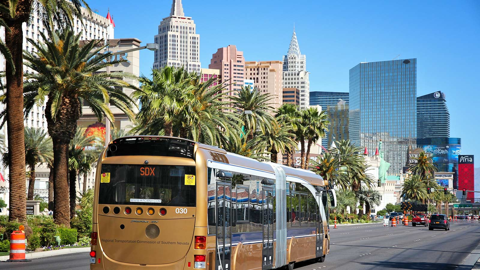 Public bus driving down the street in Las Vegas