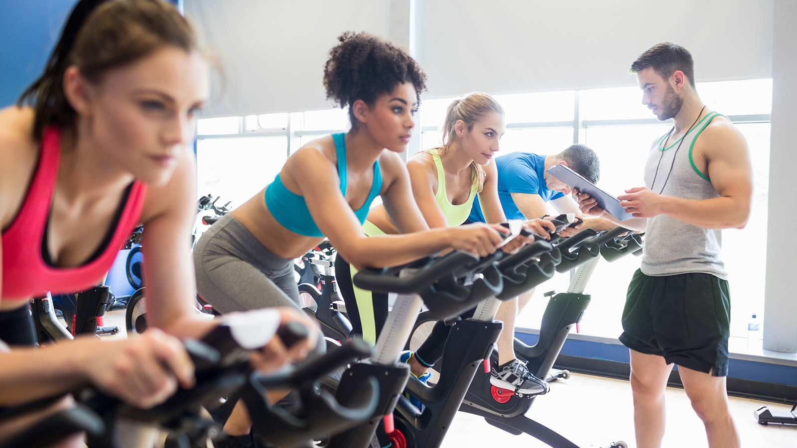 People in a spin class